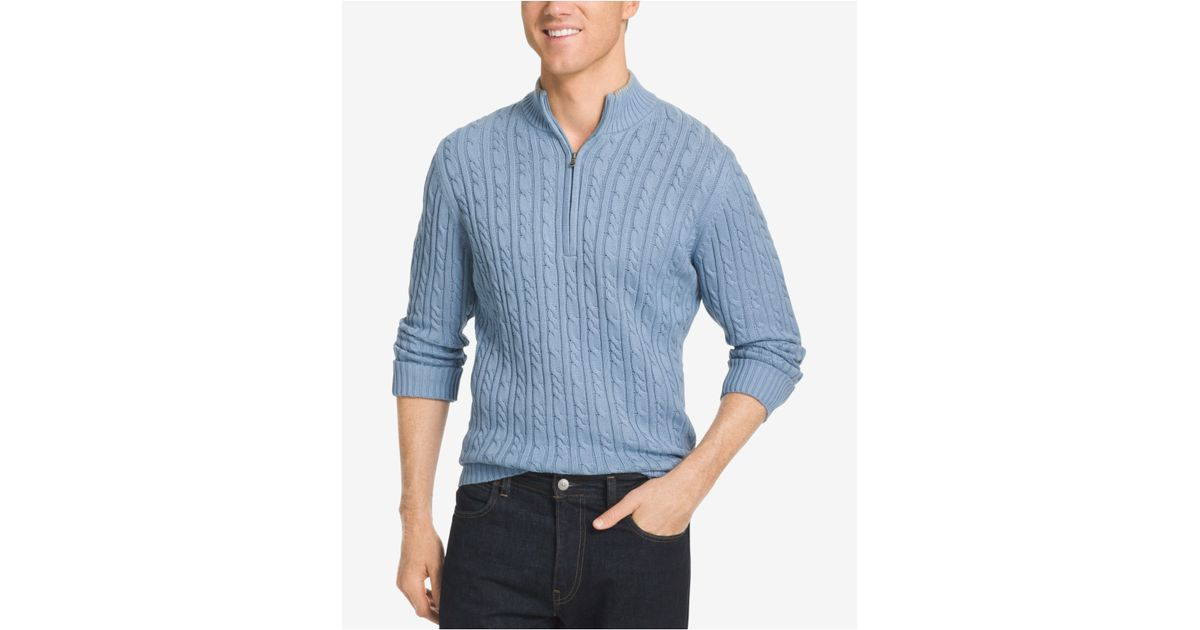 Izod men 39 s big tall mock turtleneck sweater in blue for for Big and tall mock turtleneck shirt