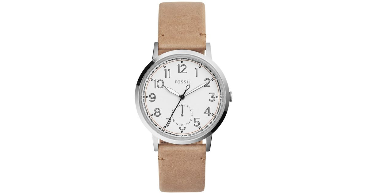 1fe2a24dd61 Lyst - Fossil Women s Everyday Muse Light Brown Leather Strap Watch 40mm  Es4060 in Metallic