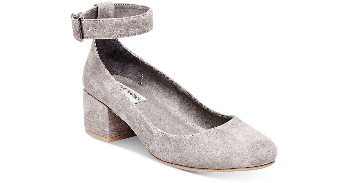Steve madden Women's Wails Strap Block-heel Pumps in Gray ...