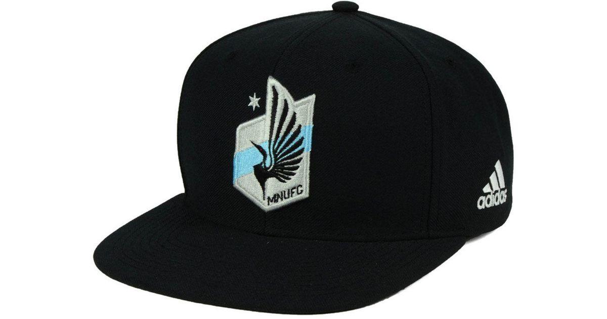 reputable site f0102 9cf47 Lyst - Adidas Minnesota United Fc Poly Snapback Cap in Black for Men