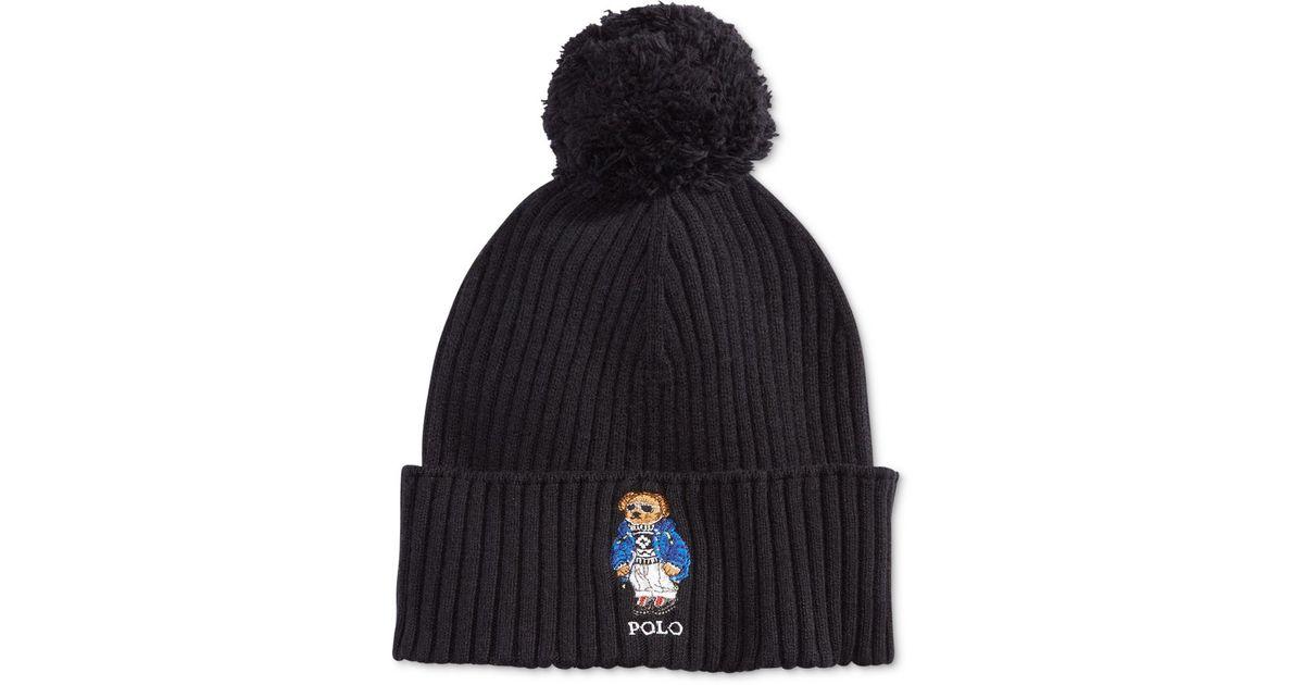 127da403 Polo Ralph Lauren Men's Ski Bear Pom-pom Hat in Black for Men - Lyst