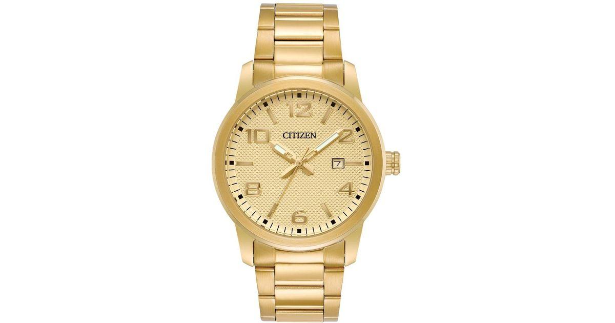 citizen s quartz gold tone stainless steel bracelet