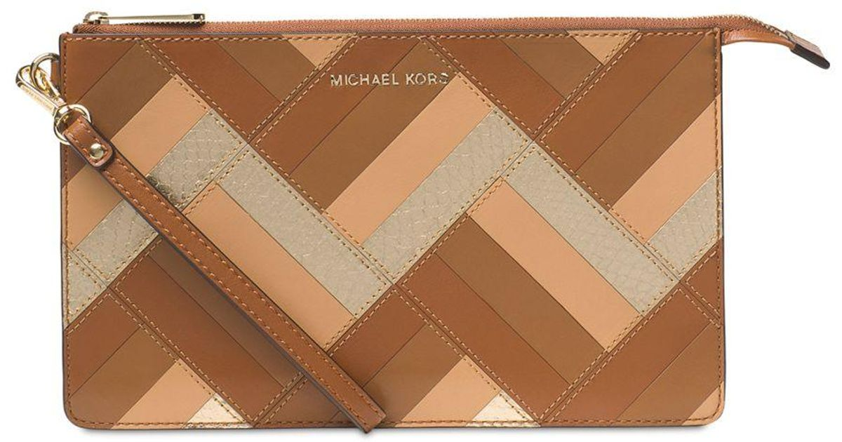 f20d2b817811 Michael Kors Marquetry Patchwork Daniela Large Wristlet in Brown - Lyst