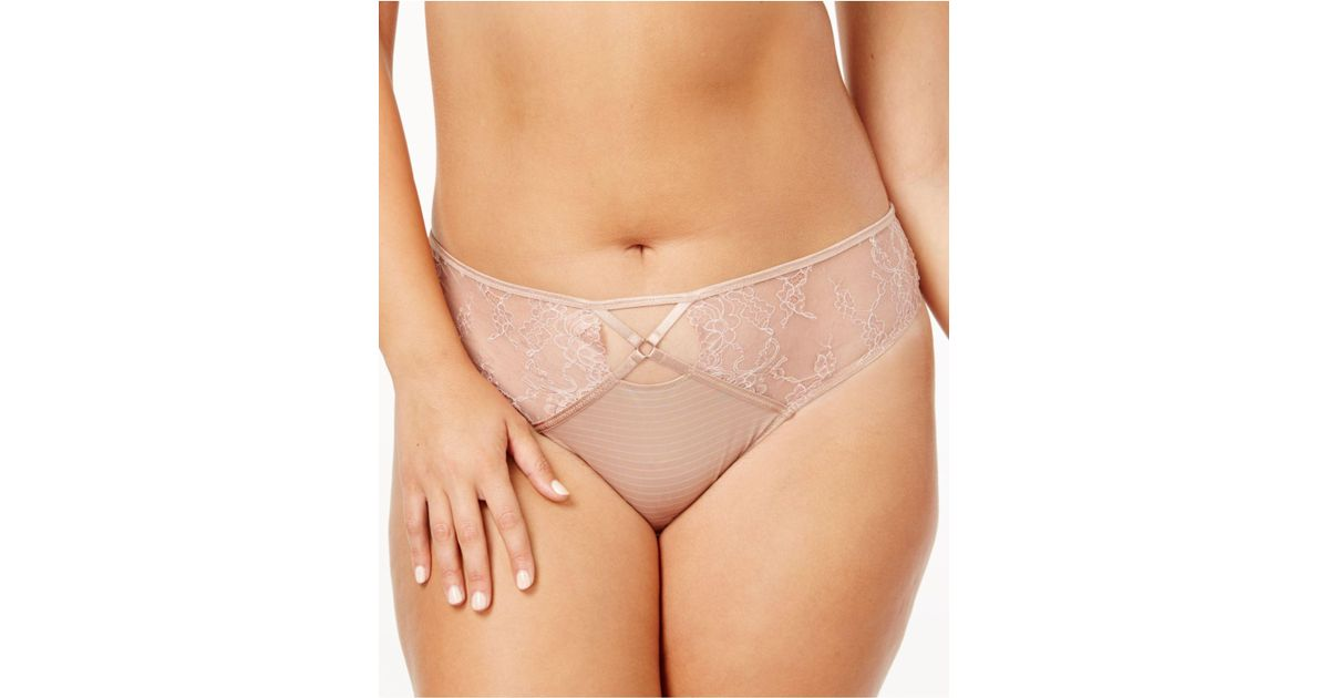 5d63c62b5fe Lyst - Ashley Graham Plus Size Crisscross-keyhole Lace Thong 760460 in  Natural