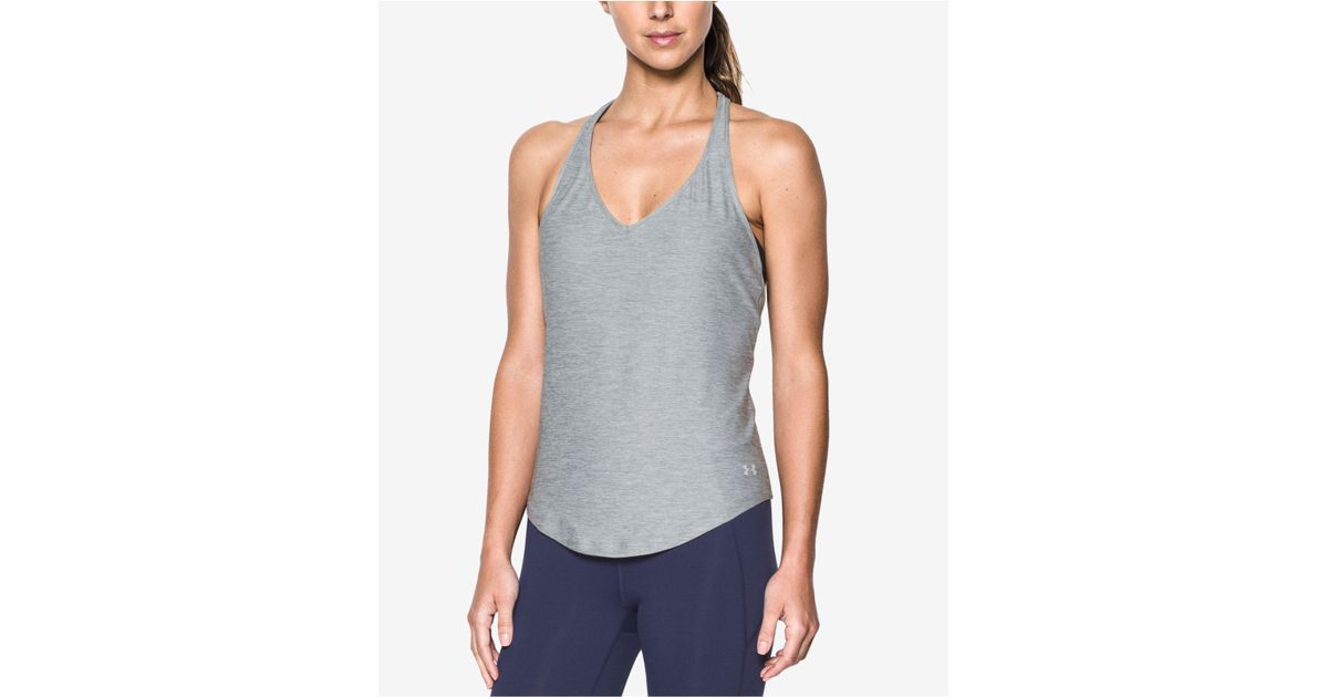 75c3bb25f9d93 Lyst - Under Armour Studiolux® Racerback Tank Top in Gray