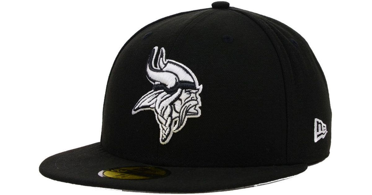 Lyst - KTZ Minnesota Vikings Black And White 59fifty Fitted Cap in Black  for Men f8199129ca2