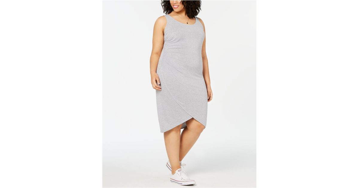 Lyst - Derek Heart Planet Gold Trendy Plus Size Ruched Dress in Gray