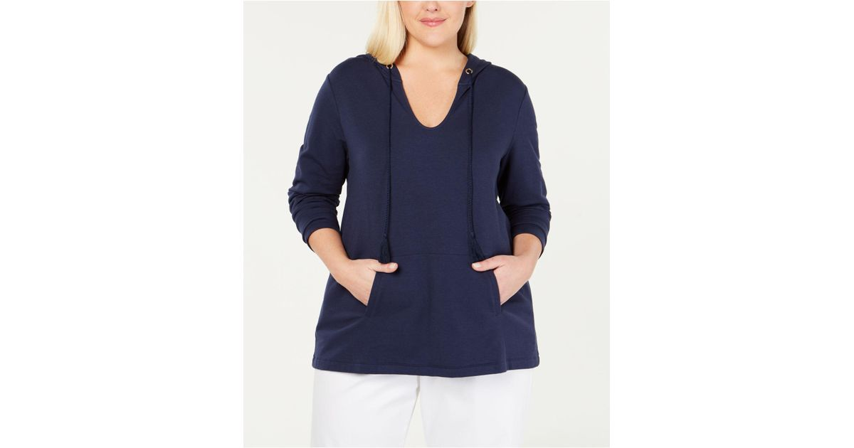 1f157583a9c Charter Club Plus Size Hoodie Tunic, Created For Macy's in Blue - Lyst