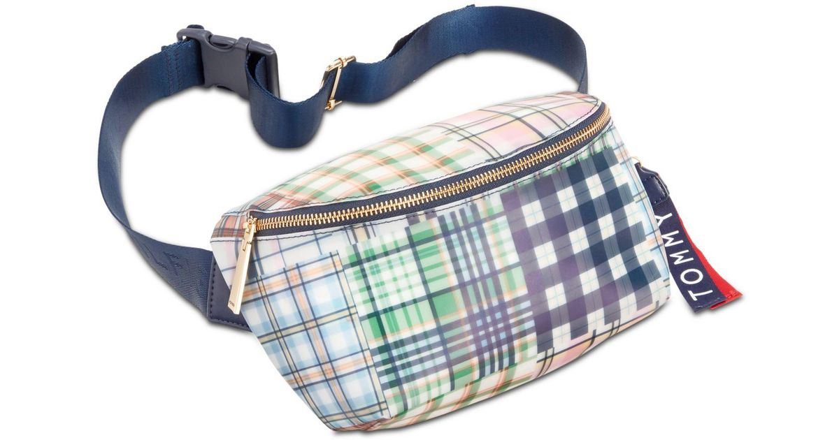 f39d14d2 Lyst - Tommy Hilfiger Kala Plaid Convertible Belt Bag in Blue