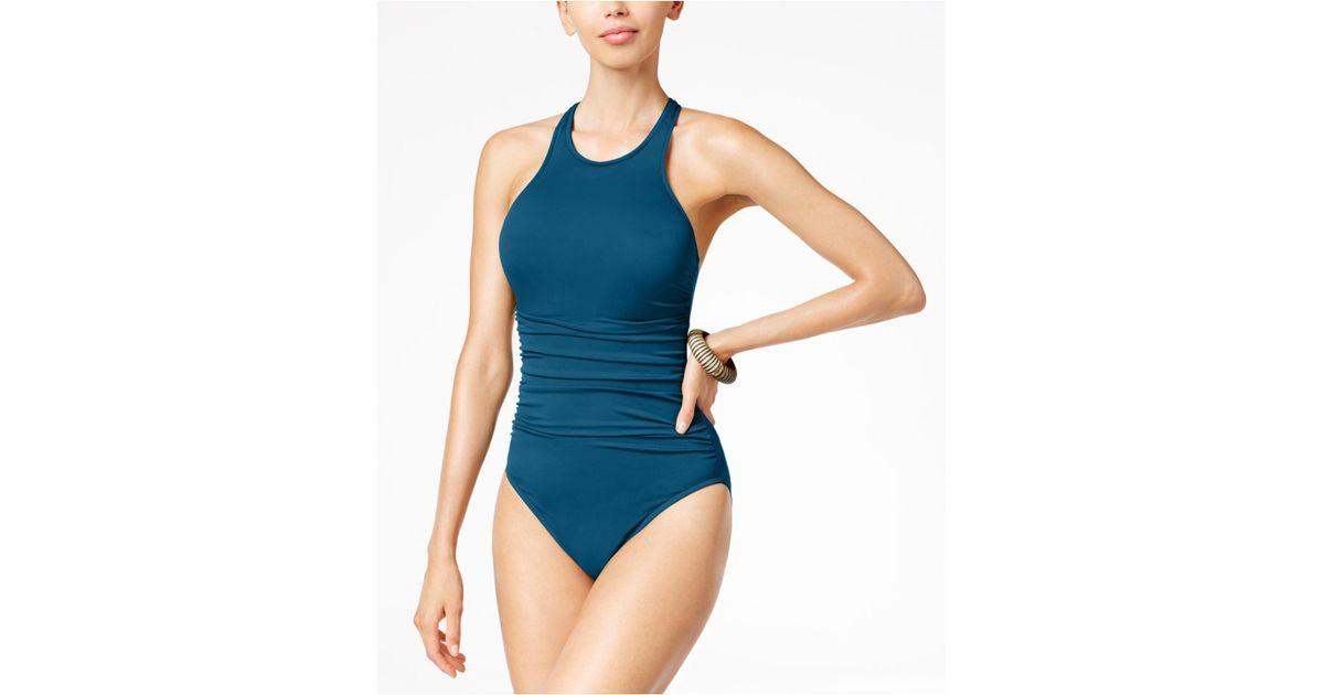 e38d81db8b1a7 Lyst - Magicsuit Danika High-neck Tummy-control One-piece Swimsuit in Blue