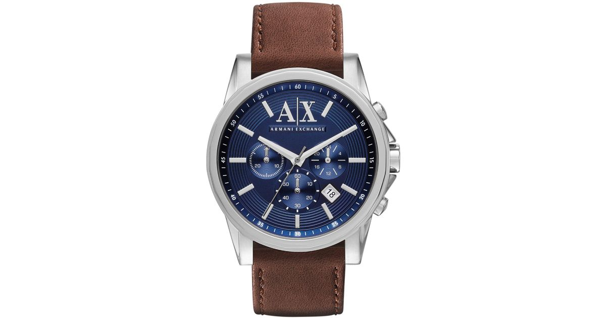 Lyst - Armani Exchange Men s Chronograph Brown Leather Strap Watch 45mm  Ax2501 in Metallic for Men 4ef124670ccd1