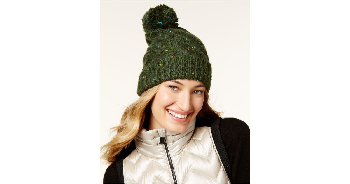 Lyst - Steve Madden Speckled Cable Beanie in Green 10b2b1bf58e