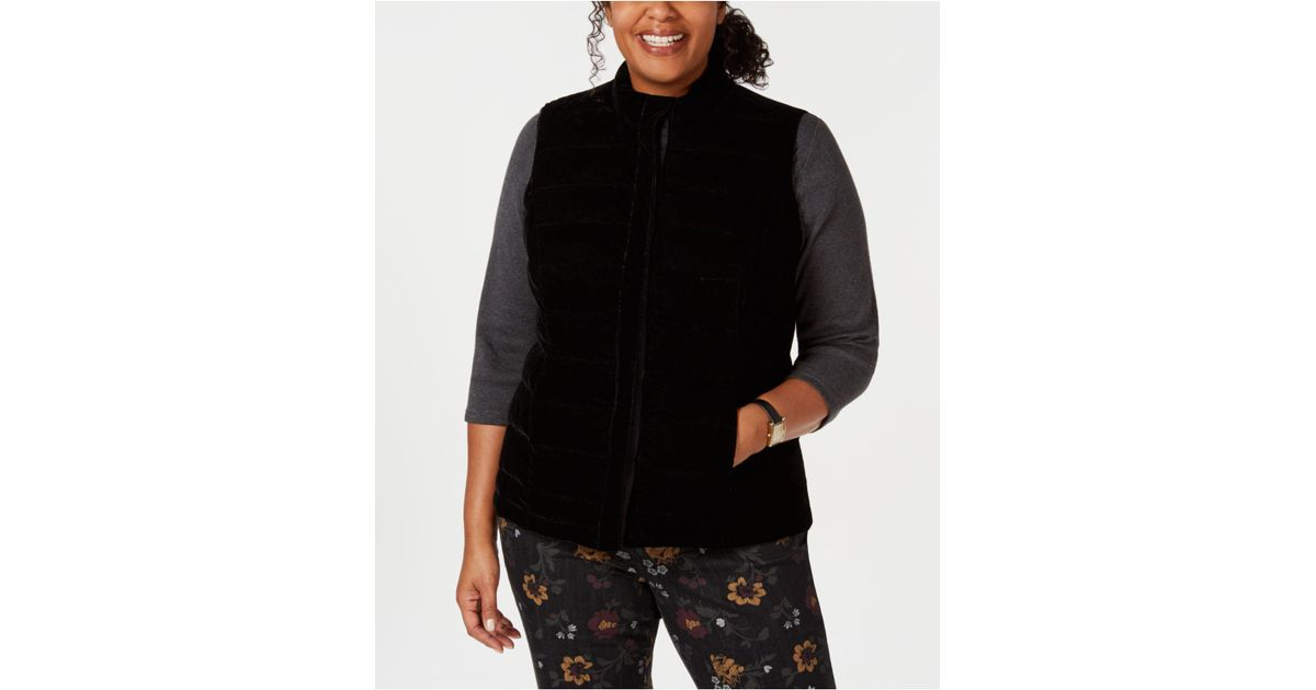 2133cc9206b Lyst - Charter Club Plus Size Quilted Velvet Vest