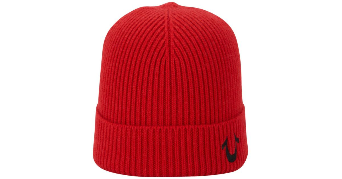 0c2c3345c True Religion Red Ribbed Knit Watchcap