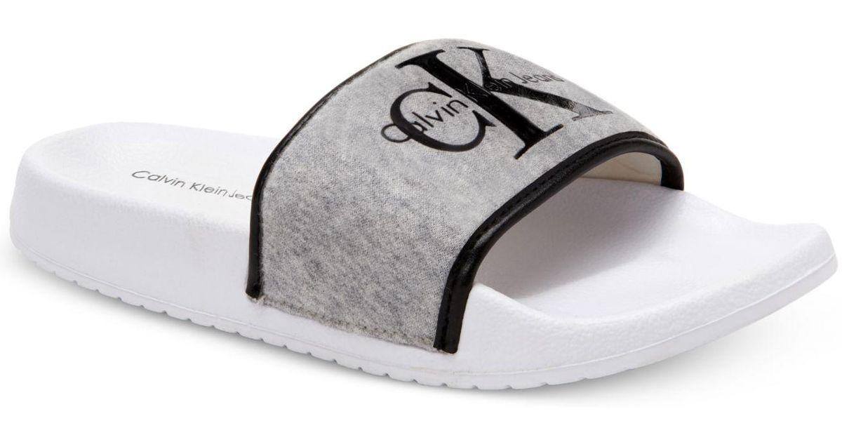 e36b22527956 Lyst - Calvin Klein Men s Viggo Jersey Slide Sandals in Gray