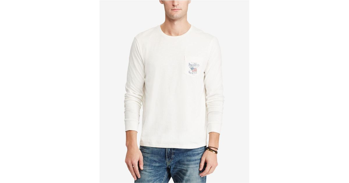 35fdb8f19c18 Lyst - Polo Ralph Lauren Men s Custom Slim Fit Long-sleeve Cotton T-shirt  in White for Men
