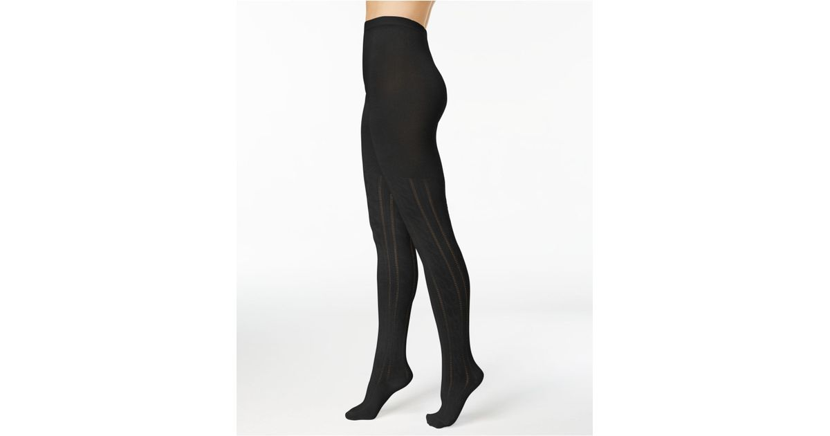 cbf633d7770ef Hue Women's Cable-knit Sweater Tights in Black - Lyst