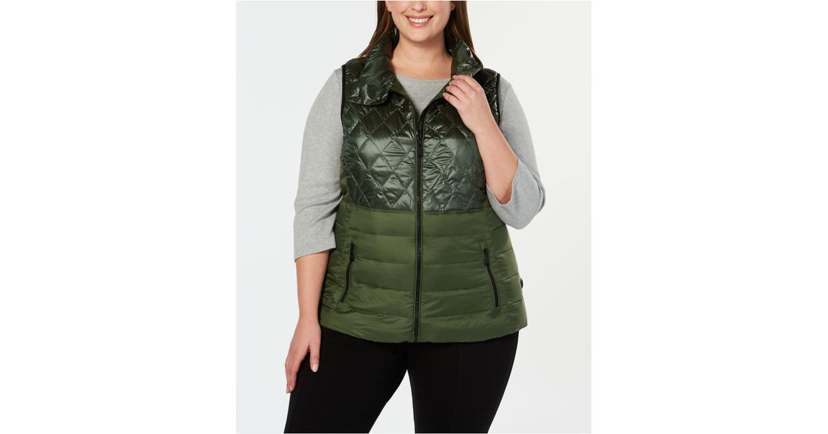 5b500437a4efe Lyst - Calvin Klein Performance Plus Size Quilted Metallic Down Vest in  Green