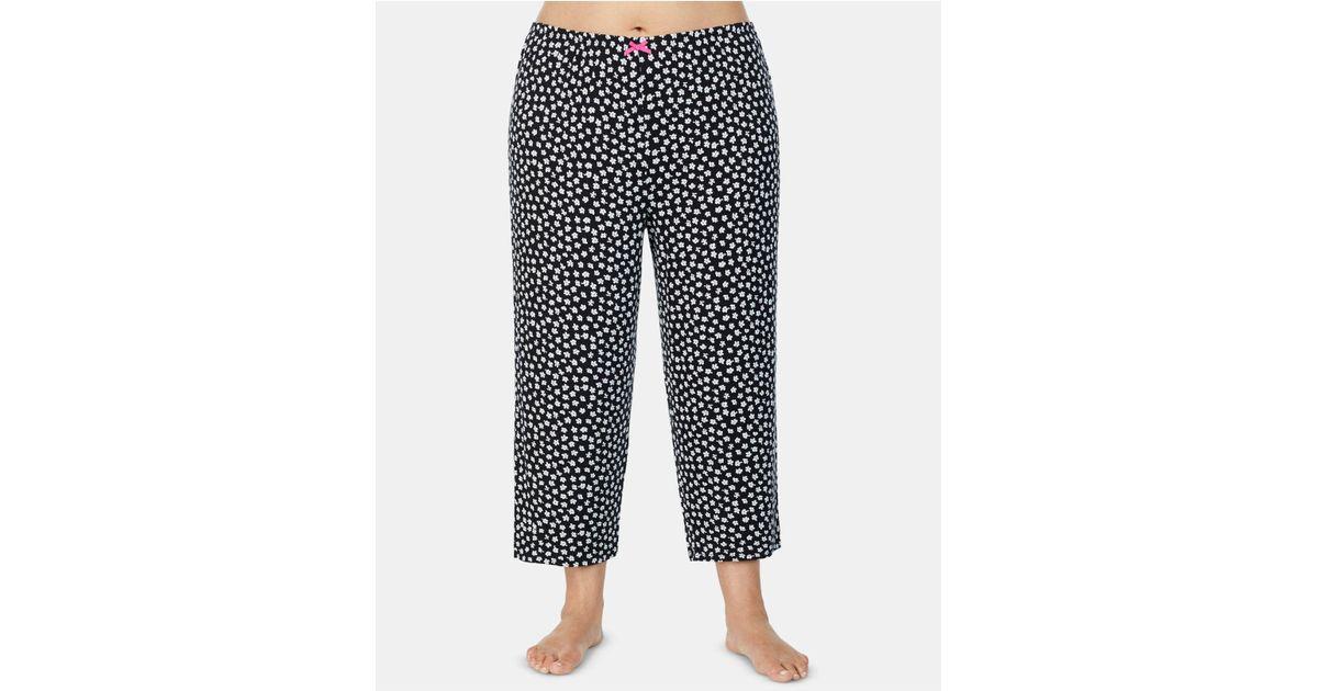 7c07270a9f9b Lyst - Ellen Tracy Plus Size Printed Capri Pajama Pants in Black
