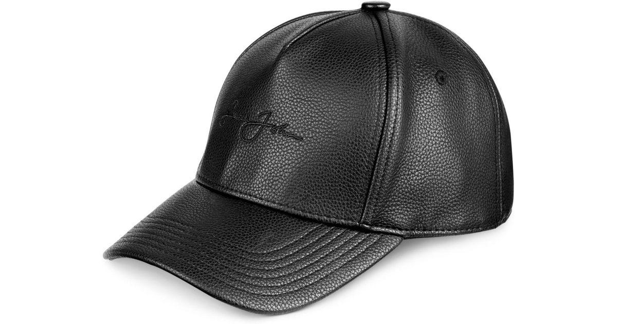 f822ea5c00dac8 Sean John Men's Faux Leather Cap in Black for Men - Lyst