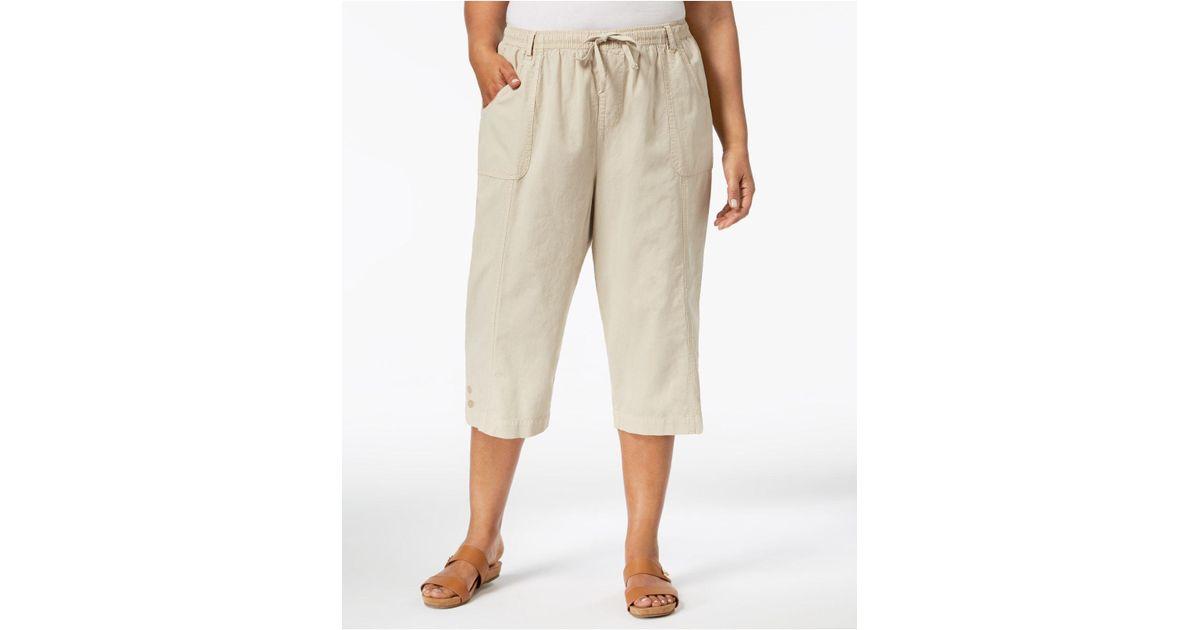 0915d4b1dd3 Lyst - Karen Scott Plus Size Cotton Capri Pants