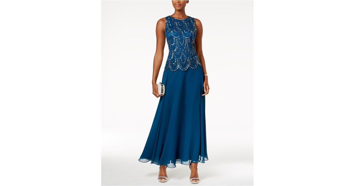 Lyst - J Kara Embellished Scalloped A-line Gown in Blue