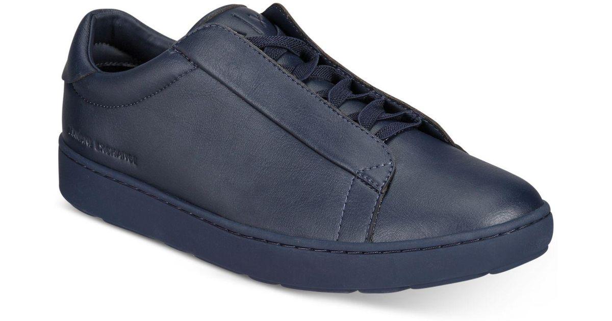 93e283b61ca4 Lyst - Armani Exchange Men s Hidden Lace Sneakers in Blue for Men