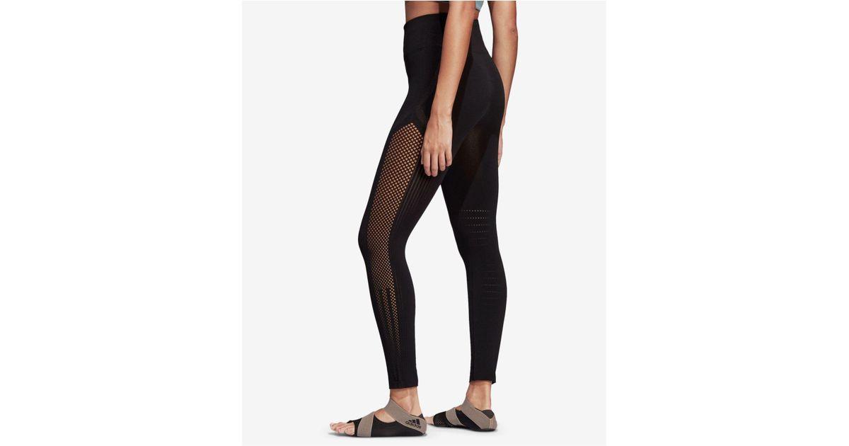 0b65ba4e8e01c adidas High-rise Seamless Warp-knit Ankle Leggings in Black - Lyst