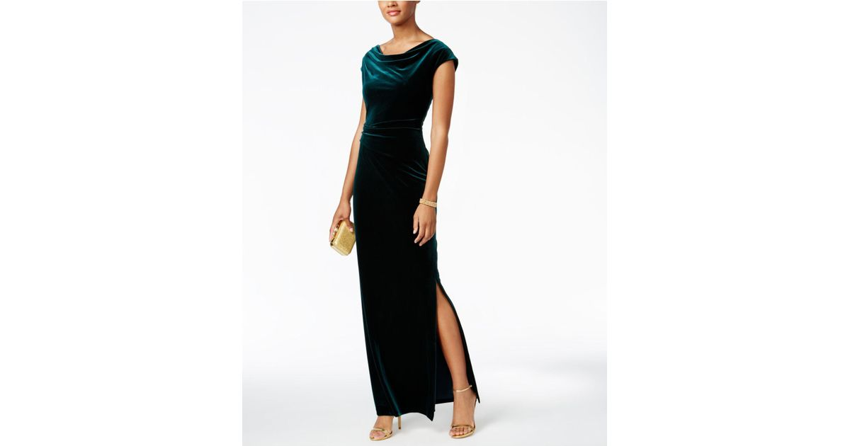 0245d2ea1354 Lyst - Vince Camuto Velvet Cutout-back Gown in Green