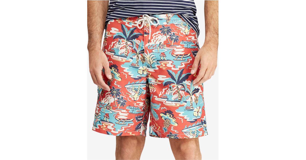 ed7450751b Lyst - Polo Ralph Lauren Big & Tall Kailua Tropical Swim Trunks in Blue for  Men