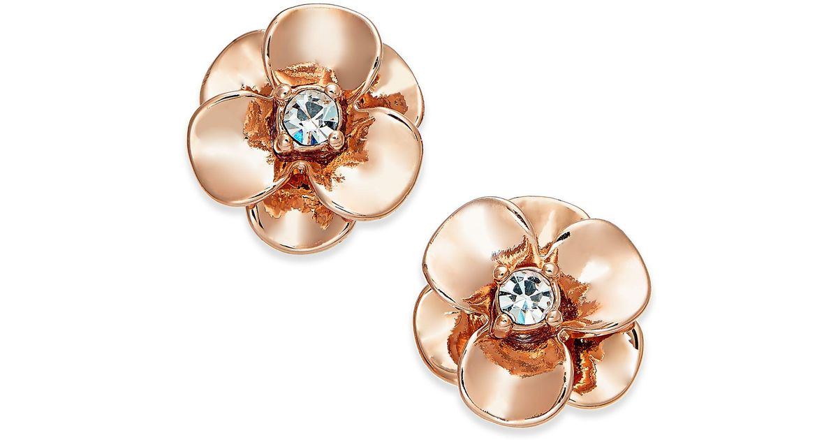 72881418a Lyst - Kate Spade Crystal Flower Stud Earrings in Metallic