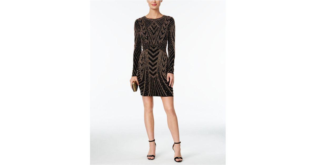 ad244b40d247 Xscape Beaded Long-sleeve Bodycon Dress in Black - Lyst