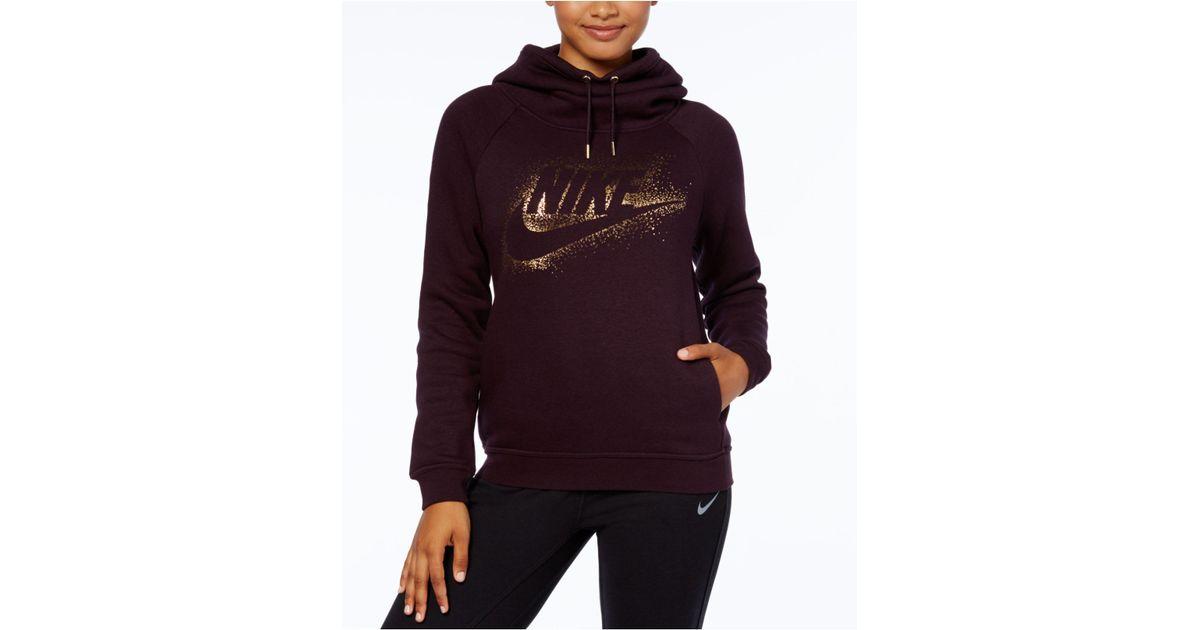 70b35ca7c Nike Sportswear Rally Funnel-neck Metallic-logo Hoodie - Lyst