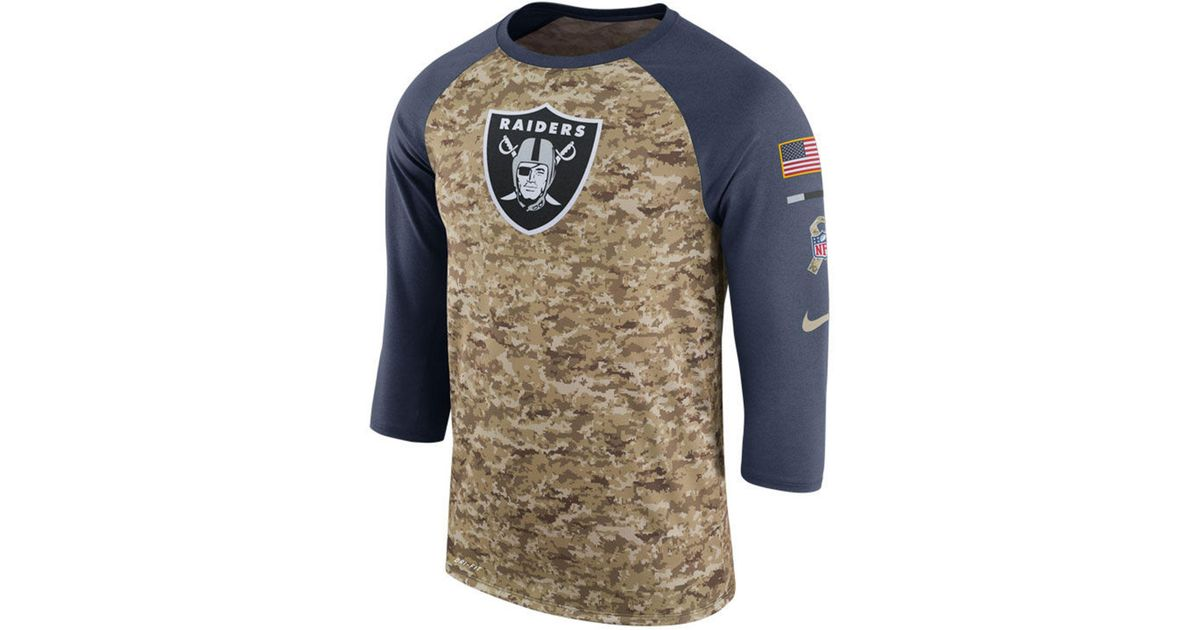 new product 1fbcc 4baff Nike - Multicolor Oakland Raiders Salute To Service Raglan T-shirt for Men  - Lyst