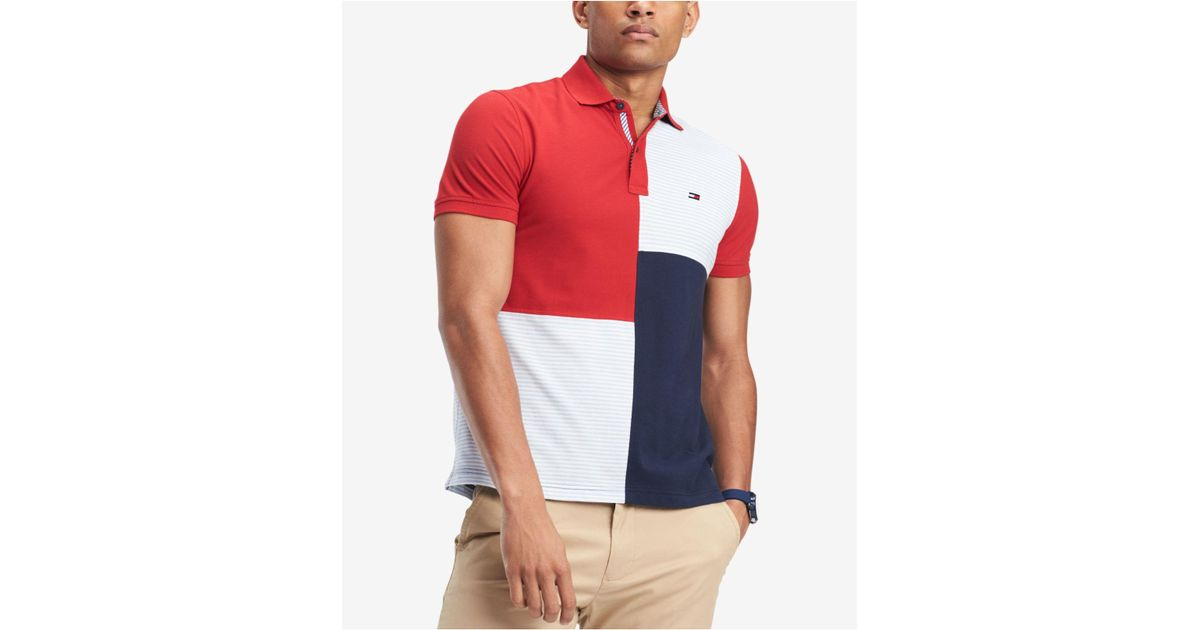 86a6ee259fd05 Lyst - Tommy Hilfiger Stevans Custom Fit Polo in Red for Men