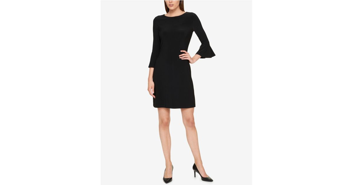 Lyst Tommy Hilfiger Bell Sleeve A Line Dress In Black