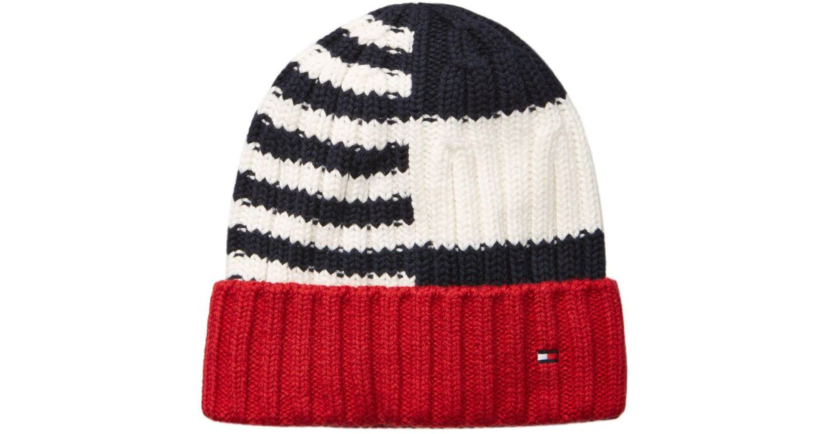 Lyst - Tommy Hilfiger Men s Rugby Striped Beanie in Blue for Men b2b411aea39