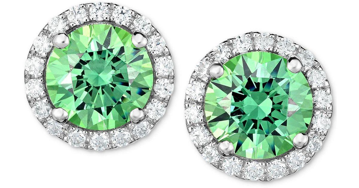 96b0d9db5 Lyst - Macy's Green Swarovski Zirconia Halo Stud Earrings In Sterling  Silver in Green