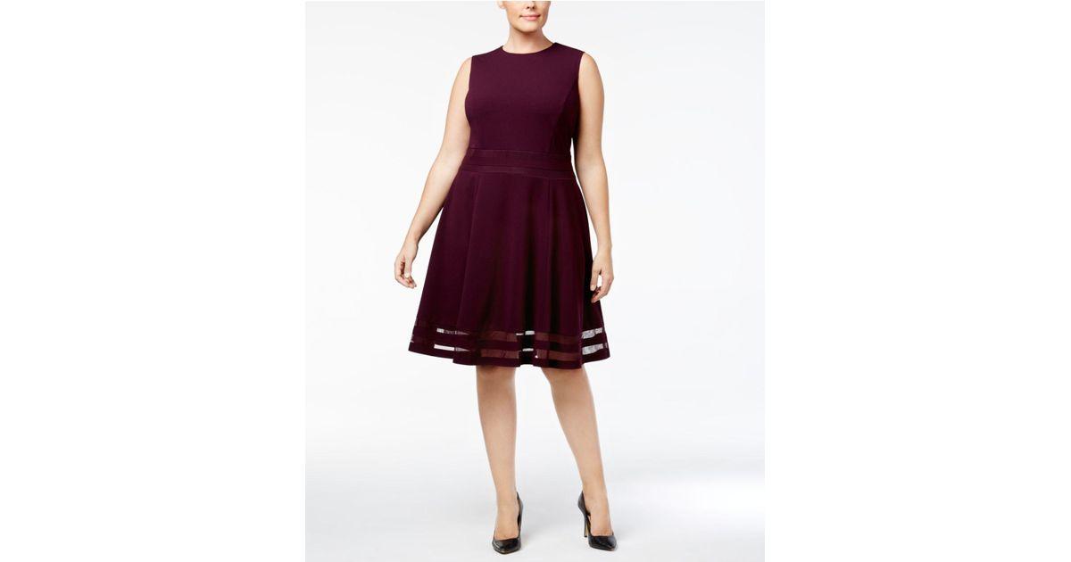 c9c0dbbb1cd Lyst - Calvin Klein Plus Size Illusion-trim Fit   Flare Dress in Purple