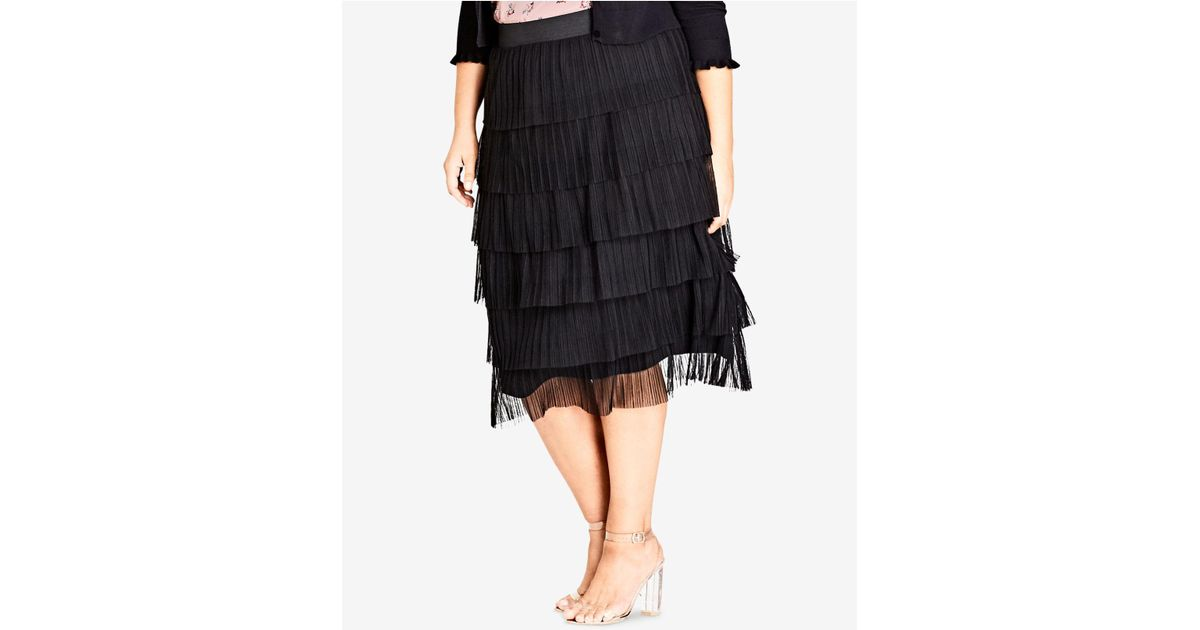 231be6e3c1b14 Lyst - City Chic Trendy Plus Size Tiered Skirt in Black