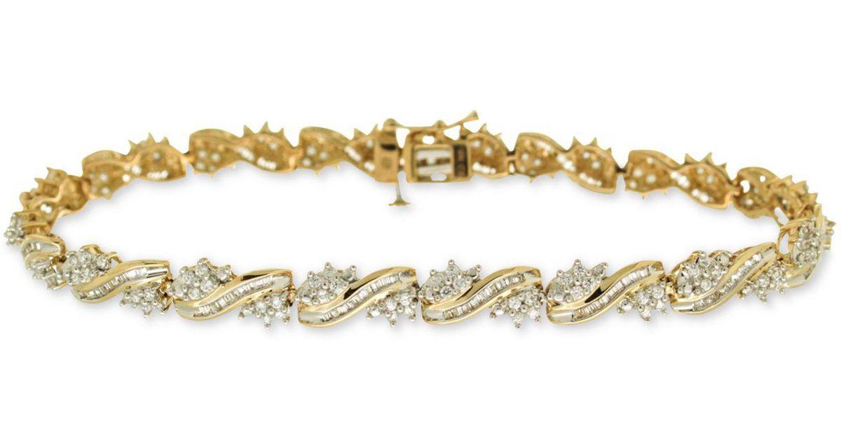 Lyst Macy S Diamond Tennis Bracelet 2 Ct T W In 10k Gold In