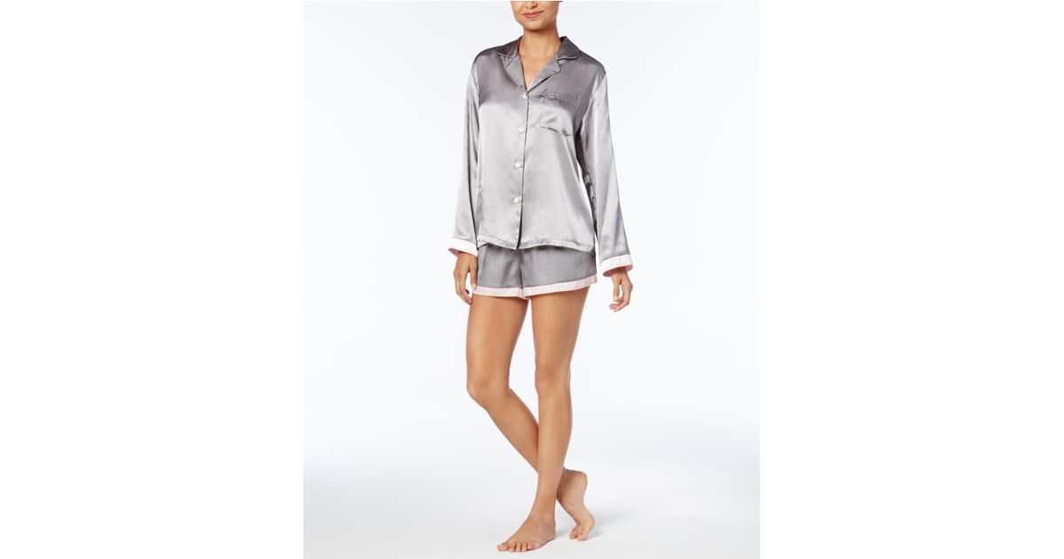 52e49408ac Linea Donatella Satin Pinstripe Pajama Set in Gray - Lyst