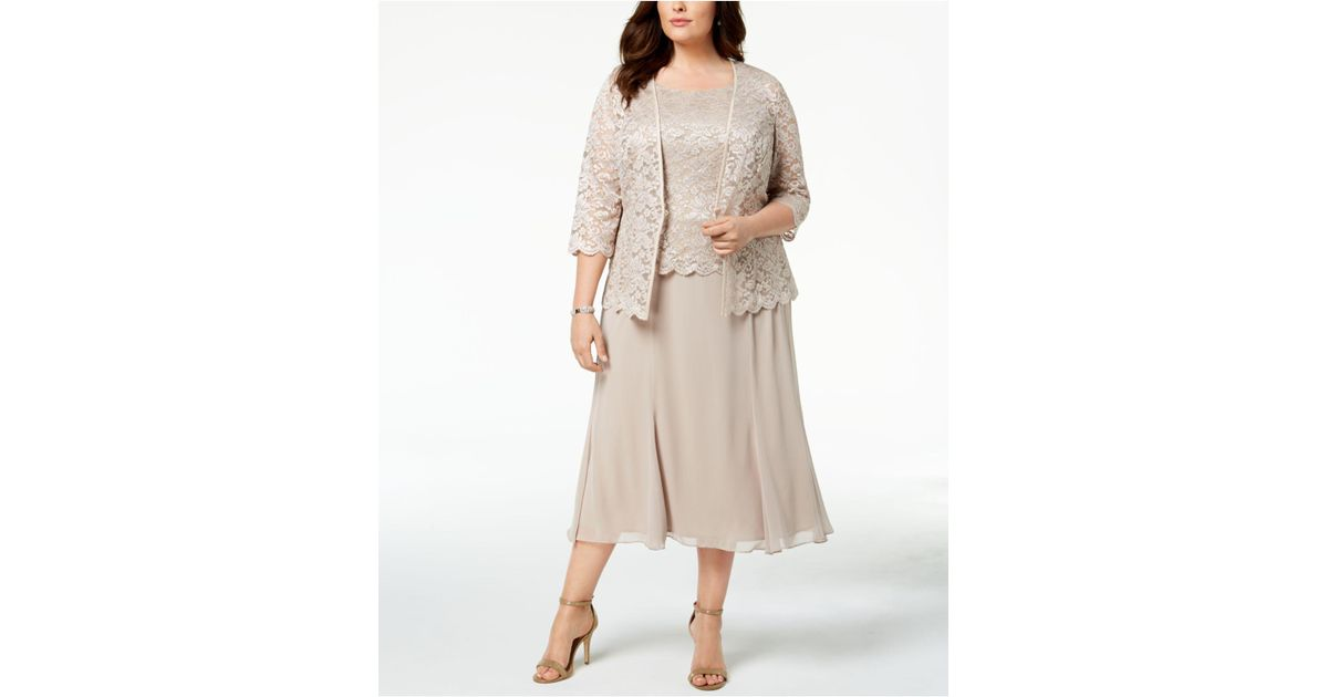 Lyst Alex Evenings 2 Pc Plus Size Lace Jacket Dress In Natural