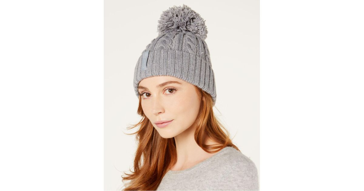 135e6ac5ce5 Lyst - Calvin Klein Solid Cable-knit Beanie in Gray