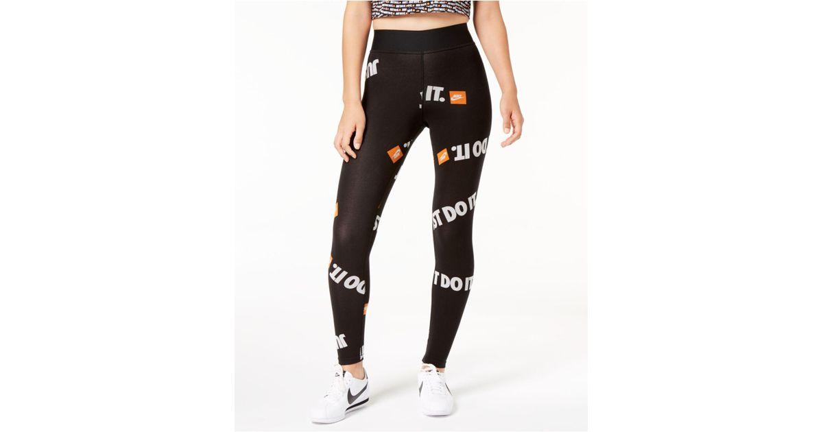 650979001b9 Lyst - Nike Sportswear Just Do It High-rise Ankle Leggings in Black