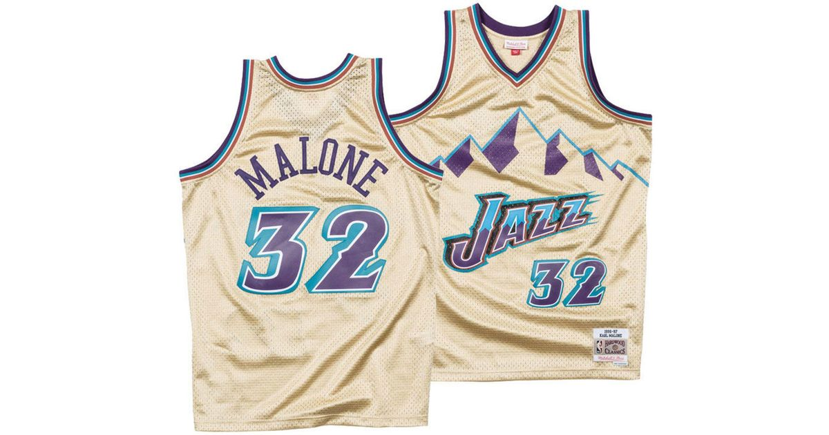 13f613584f5 Lyst - Mitchell   Ness Karl Malone Utah Jazz Gold Collection Swingman Jersey  in Metallic for Men