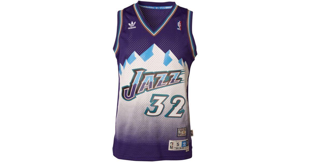 863fb8a31e7 Lyst - adidas Men s Karl Malone Utah Jazz Swingman Jersey in Purple for Men