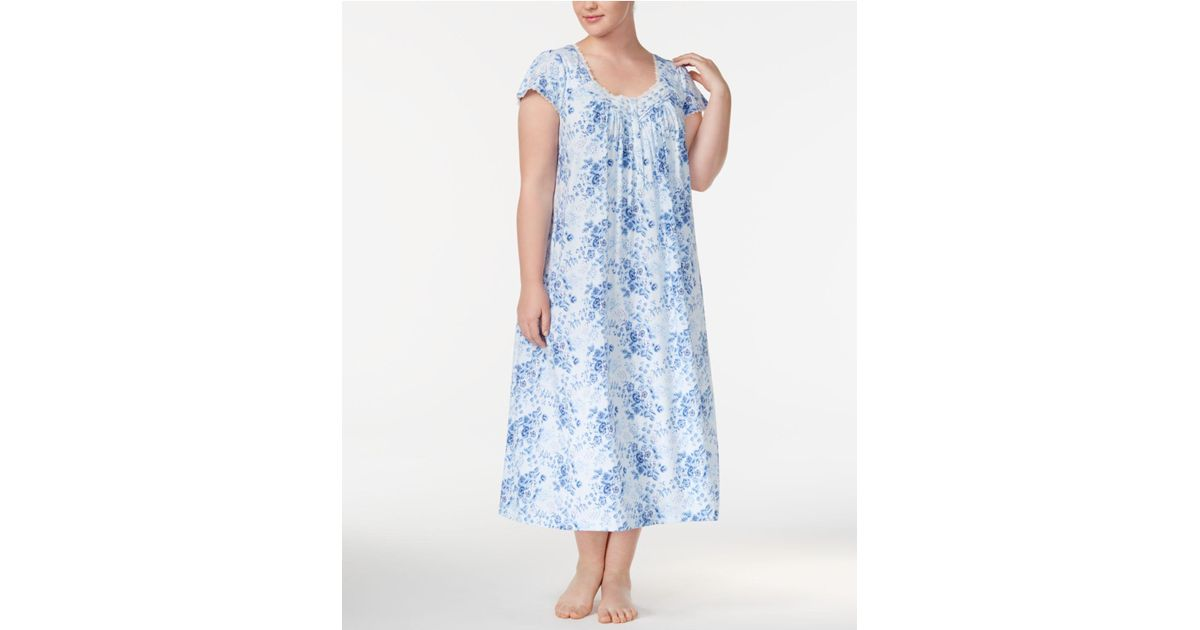 02dfce751fd Lyst - Charter Club Plus Size Lace-trimmed Printed Cotton Knit Nightgown in  Blue