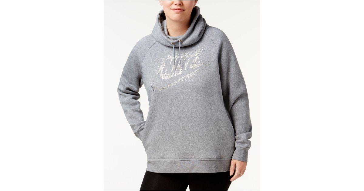 89699a1811c76 Lyst - Nike Plus Size Sportswear Rally Metallic-logo Hoodie in Gray