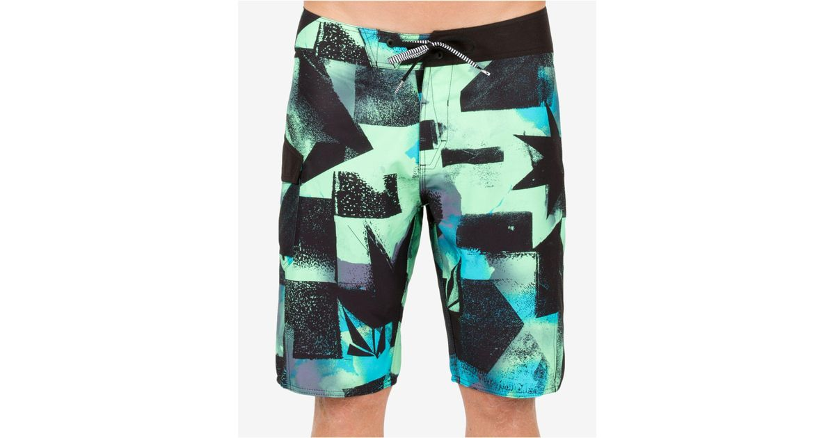 8d9f119a0a Lyst - Volcom Men's Costa Paste Up Abstract-print Swim Trunks in Green for  Men